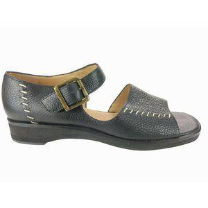 Orvis Womens Sz 7.5 B Black Open toe Sandal Pebble